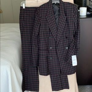 Zara suit, black with white and red grid pattern